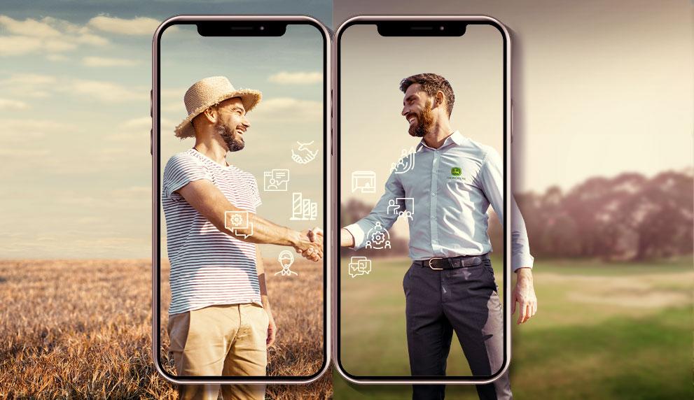 Imagem dividida ao meio de dois homens em um campo apertando as mãos emoldurados por um celular gignate.