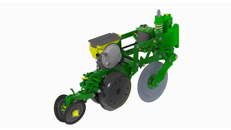 Foto Plantadeira DB em 3D de uma única linha em detalhe para ver como funciona o MaxEmerge™